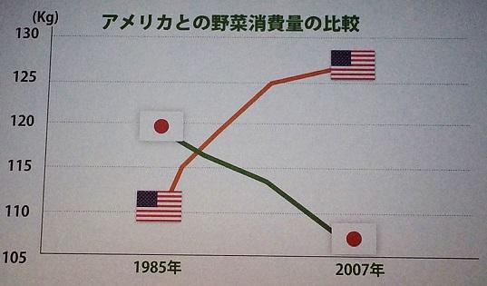 日米の野菜摂取量
